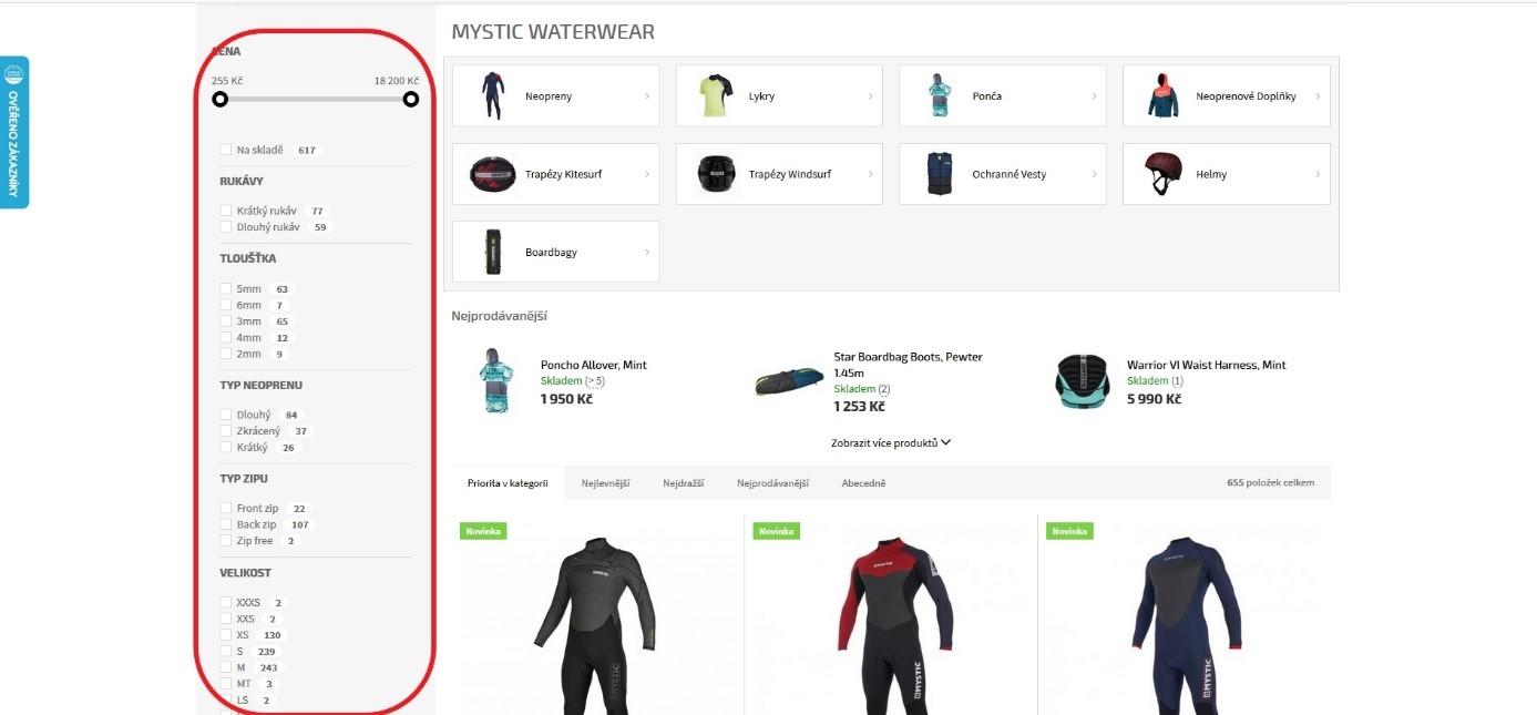 filtrování produktů
